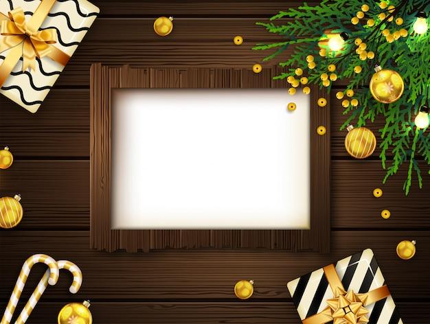 Fondo de navidad con marco y decoraciones