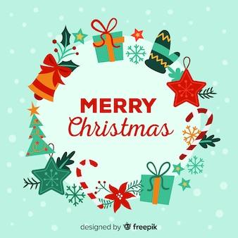 Fondo de navidad con marco de elementos navideños en diseño plano