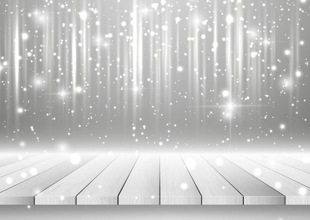 Fondo de navidad con mesa de madera mirando hacia un diseño plateado brillante