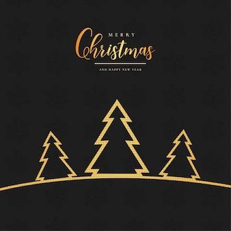 Fondo de navidad moderno con árbol de navidad dorado