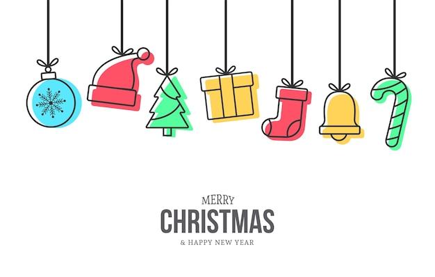 Fondo de navidad moderno con decoración de iconos de navidad de memphis