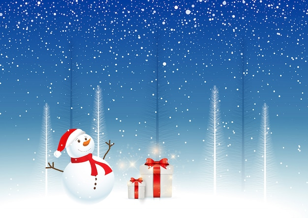 Fondo de navidad con muñeco de nieve y regalos