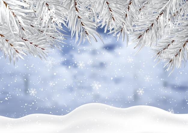 Fondo de navidad con nieve de invierno y ramas de los árboles