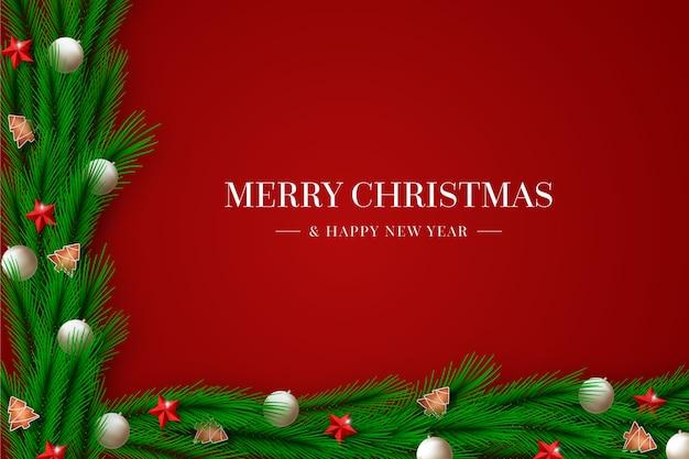 Fondo de navidad de oropel con decoraciones