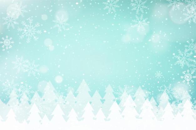 Fondo de navidad con paisaje desenfocado