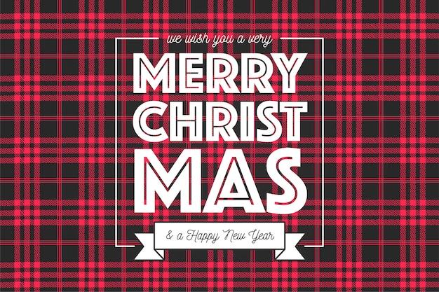 Fondo de navidad en patrón de tartán rojo y negro