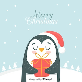 Fondo navidad pinguino dibujado a mano