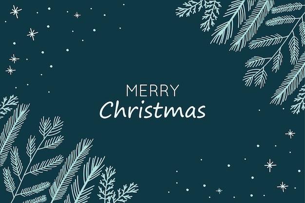 Fondo de navidad con ramas de abeto dibujadas a mano