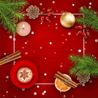 Fondo de navidad con ramas de abeto, velas y adornos navideños