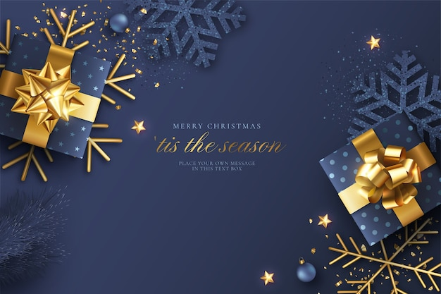 Fondo de navidad realista azul y dorado