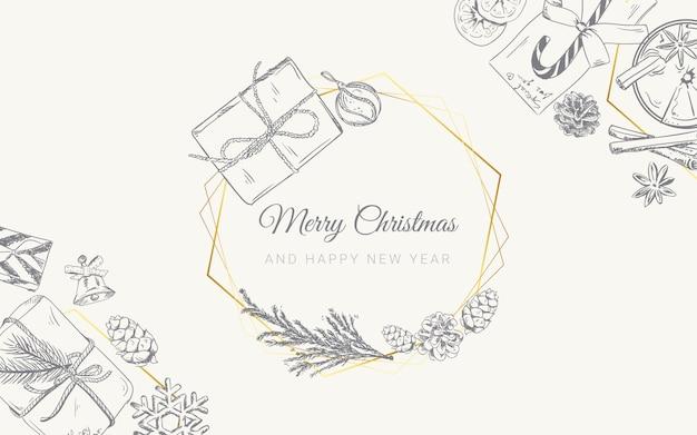 Fondo de navidad con regalos de doodle dibujado a mano
