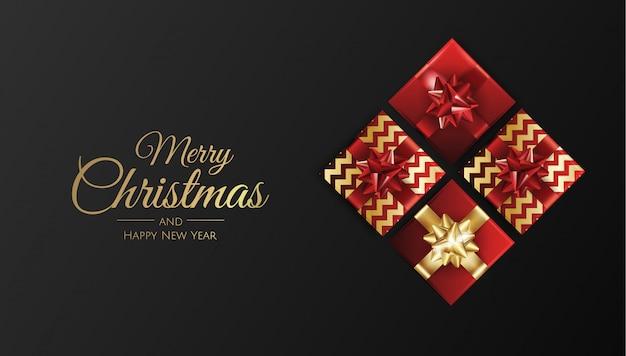 Fondo de navidad con regalos vector de tarjeta de feliz navidad