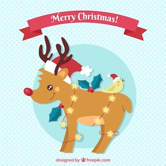 Fondo de navidad con reno adorable