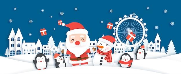 Fondo de navidad con santa claus y amigos en la aldea de nieve en estilo de corte de papel.
