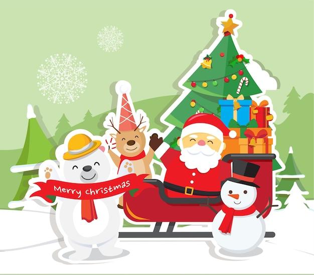 Fondo de navidad con santa claus