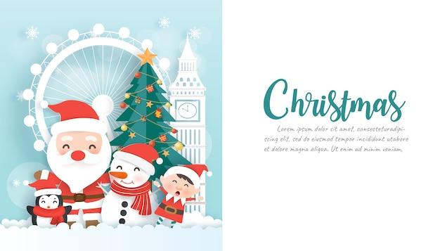 Fondo de navidad con snoman y espacio de copia en estilo de corte de papel.