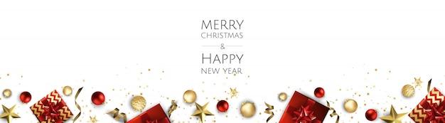 Fondo de navidad, tarjeta de felicitación de diseño, pancarta, póster, caja de regalo de vista superior, bolas de decoración de navidad y copos de nieve,