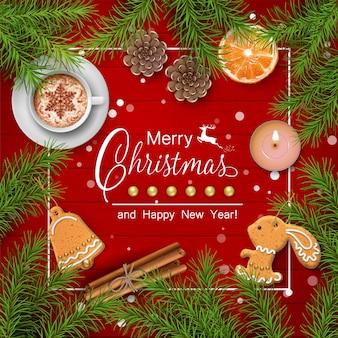 Fondo de navidad con una taza, pan de jengibre y adornos navideños