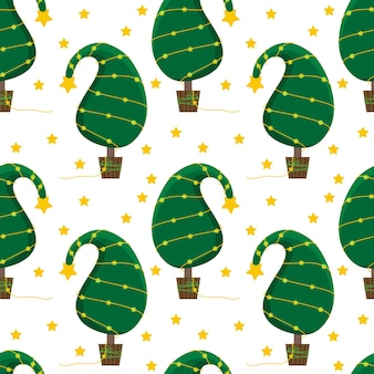 Fondo de navidad transparente con un árbol de navidad inusual y una guirnalda brillante