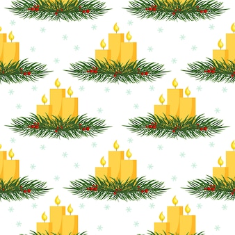Fondo de navidad transparente con velas de navidad en ramas de abeto