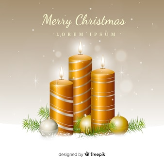 Fondo navidad velas doradas realistas