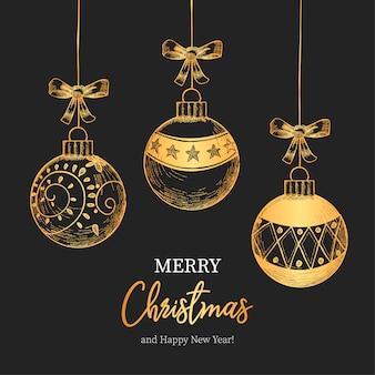 Fondo de navidad vintage con hermosas bolas de navidad