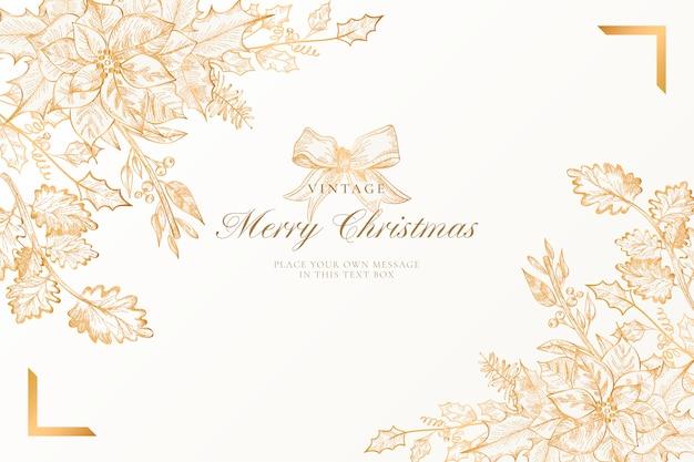 Fondo de navidad vintage con naturaleza dorada