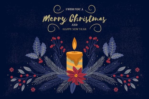Fondo de navidad vintage con vela