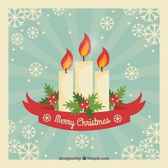 Fondo de navidad vintage con velas