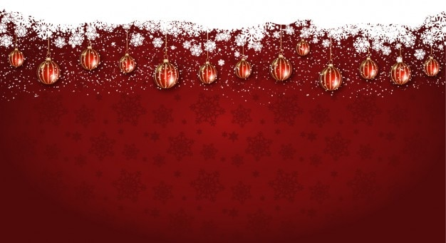 Fondo navideño con bolas de navidad colgadas