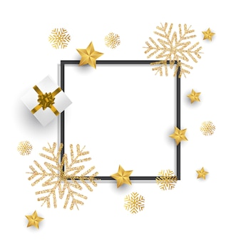 Fondo navideño con brillo copos de nieve, regalo y estrellas.