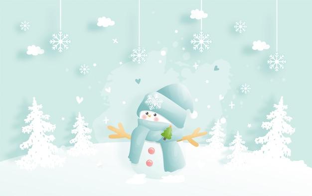 Fondo navideño, celebraciones con lindo muñeco de nieve y escena navideña.