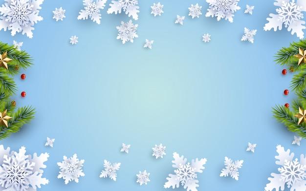 Fondo navideño con composición y decoración
