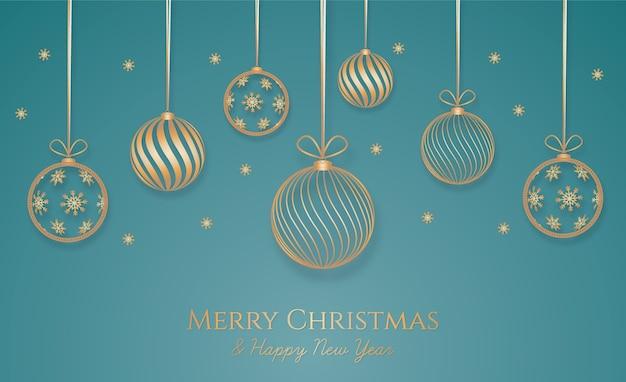 Fondo navideño con decoración dorada