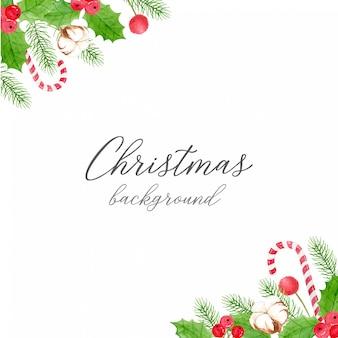 Fondo navideño - decoración de esquina de bayas y hojas de acebo, flor de algodón, hojas de pino y bastón de caramelo