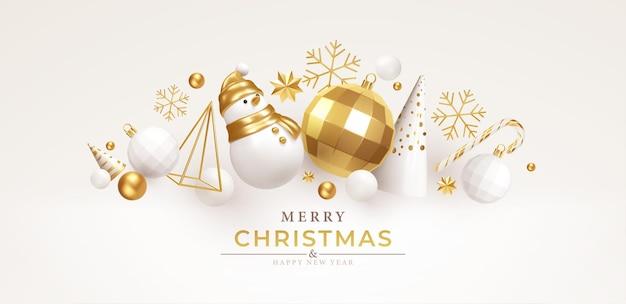 Fondo navideño con decoraciones de tendencia realistas en blanco y dorado para navidad