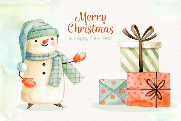 Fondo navideño dibujado a mano con muñeco de nieve