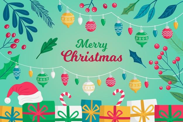 Fondo navideño dibujado a mano con regalos