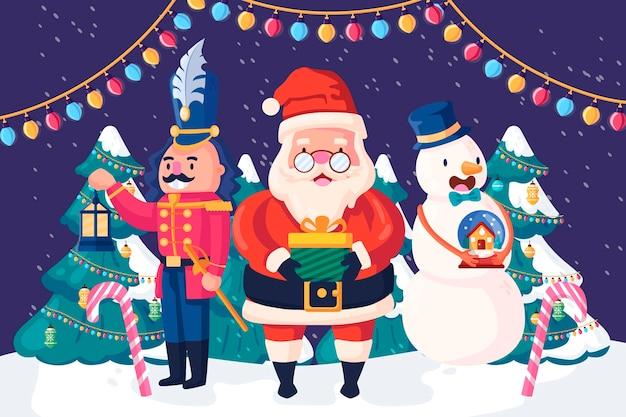 Fondo navideño en diseño plano
