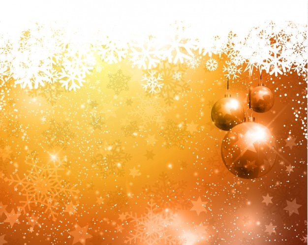 Fondo navideño dorado con bolas de árbol