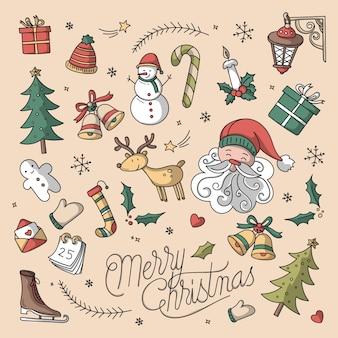 Fondo navideño con elementos dibujados a mano