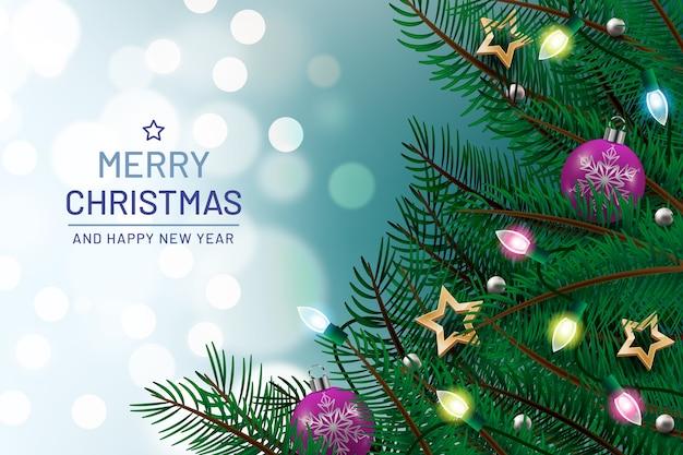 Fondo navideño con elementos realistas