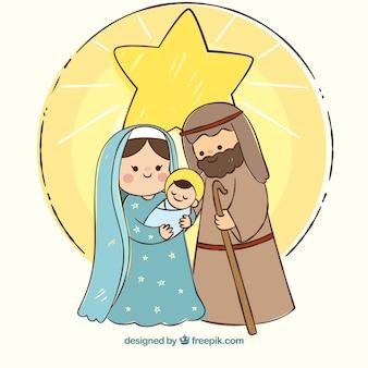 Fondo navideño con una escena de natividad