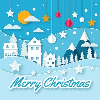 Fondo navideño en estilo papel con casas y estrellas.