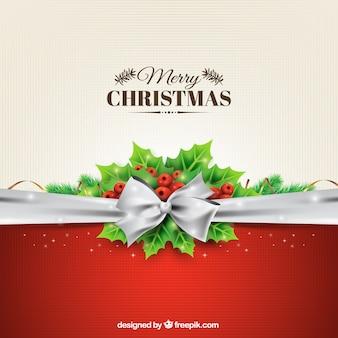 Fondo navideño con un lazo plateado