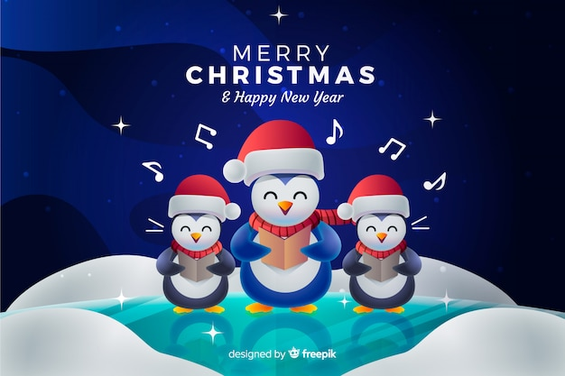 Fondo navideño con pingüinos cantando un villancico.