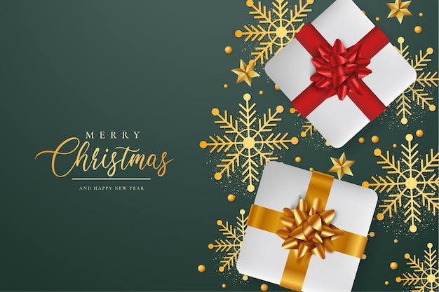 Fondo navideño con regalos realistas y copos de nieve.