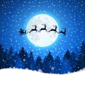 Fondo navideño con santa y venados volando en el cielo.