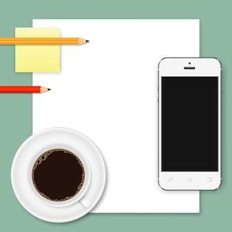 Fondo de negocio abstracto de hoja de papel blanco, teléfono inteligente, taza de café y lápices