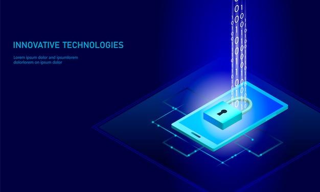 Fondo de negocios de bloqueo de seguridad isométrica de internet
